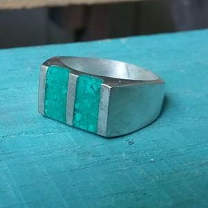 VTG Crushed Turquoise/Mexico Sterling Silver Ring
